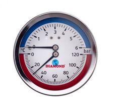 """Termomanometer Diamond 80/120 6bar 1/2"""" zadný"""